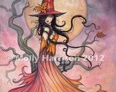 Autumn Magic Fantasy Art Original Witch Cat Halloween Archival Giclee Print 9 x 12