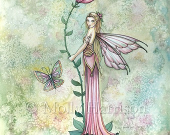Fantasy Flower Fairy Fine Art Print by Molly Harrison