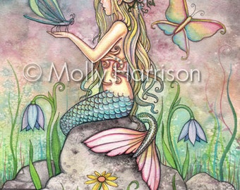 Creekside Magic 8 x 10 Mermaid Fantasy Watercolor Fine Art Print by Molly Harrison