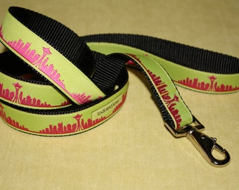 Seattle Skyline Leash Hot Pink with Chartreuse
