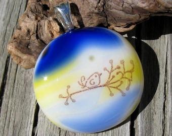 Chubby Bird on a Branch Glass Pendant