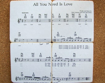 All You Need Is Love - Beatles - Sheet Music Coasters