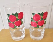 2 vintage 4 roses whiskey glass tumblers