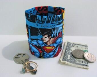 "Kids-  Secret Stash Money Cuff- ""Superman""- hide your lunch money, secret notes, health info in a HIDDEN zipper"