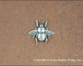 Antiqued Sterling Silver Plated Bumble Bees (item 7005-small AS) - 6 Pieces