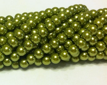Glass Pearl Beads - 42 pc - Olive Green Pearl Beads - 8mm - Round - Dyed