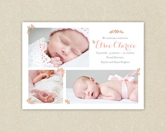 Baby Girl Custom Photo Birth Announcement - Tiny Flowers