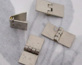 10 pcs. tiny silver tone hinges 13x6mm - f4055