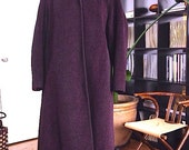 Vintage Wool Coat  Size Large 12 14 - Deep Plum with pink undertones - Rothmoor Stukenbergs - Made in USA - size 12-14