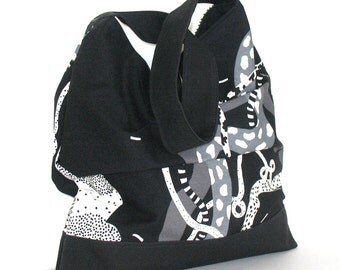 Slouch shoulder bag , Handmade large cotton floral hobo handbag in black and ivory , Hobo bag , Shoulder purse , Slouch hobo , Fabric bag