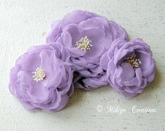 Bridal Lilac Sash Accessory,  Wedding Accessories, Floral Fascinator, Bridesmaid Gift Brooch, Wedding Sash In Lilac Chiffon