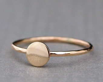 Tiny Gold Ring , Plain Gold Circle Ring , Simple Gold Ring