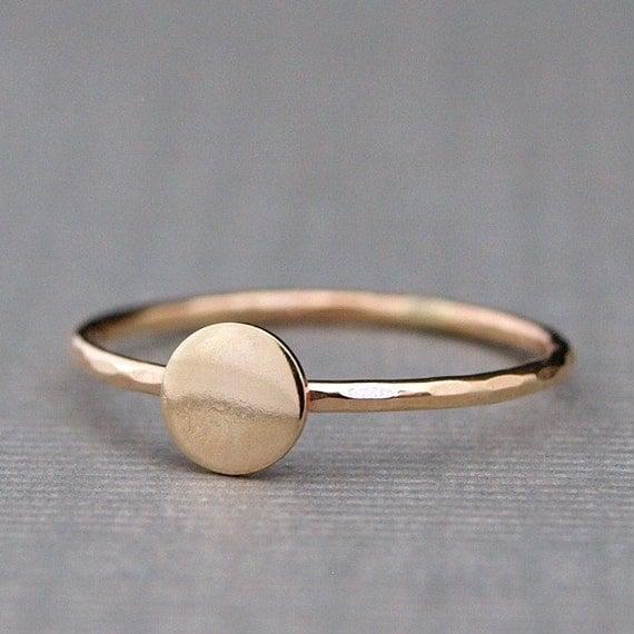Tiny Gold Ring Plain Gold Circle Ring Simple Gold Ring