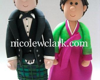Scottish Kilt Cake Topper.  Wedding Cake top in Saris, Hanbok, Kimonos,  Cheongsam and traditional attire.  Bride and Groom.  Mr. & Mrs.