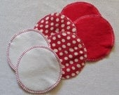 Soft Flannel Nursing Pads, 3 Pair in Red and Cream, Flannel and Cotton/Bamboo Fleece