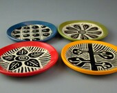 Colorful Sgraffito 4 Coaster Set