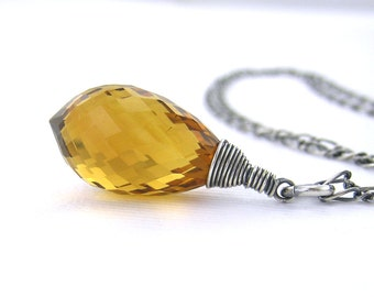 Madeira Citrine Necklace Statement Silver Necklace November Birthstone Jewelry Simple Silver Necklace Rustic Jewelry - Luxe Minimalist