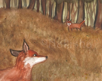 Original Art - The Two of Foxes - Watercolor Fox Painting -The Badgers Forest Tarot