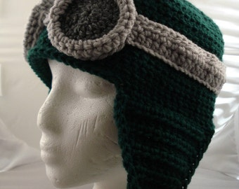 Crocheted Aviator's Helmet in Dark Green with Silver Rimmed Goggles (made to order)