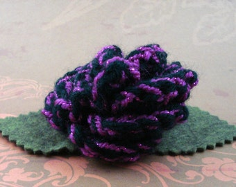 Crocheted Rose Bar Pin - Black with Pinkish-Purple Glitter (SWG-PS-ZZ06)