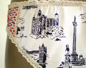 London Landmark Knickers With Retro Daisy Contrast Red White And Blue Handmade Cotton Panties