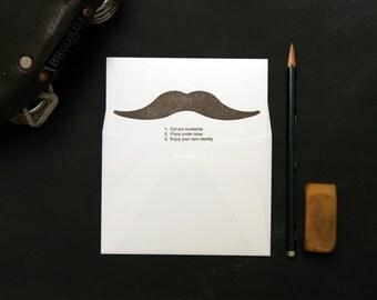 MUSTACHIO BASHIO: enjoy your new identity - letterpress folded card and envelope (1ct)