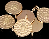 KZ-236 thai karen hill tribe handmade silver 3 rose gold vermeil medium hammered om sign disc charm
