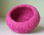 Bowl - Felted Wool in Dark Pink
