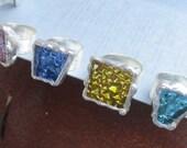 Blue Aqua Pink Gold Glass Tile Ring on Adjustable Wide Band by Heidi Urbanski