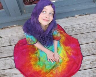 Girls Hooded Dress, Organic Cotton Dress, Organic Girls Dress, Handmade Hand-dyed Dress, MADE TO ORDER