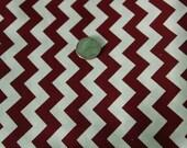 Marshall Dry Goods Fabric - One Yard - Maroon and White Chevron