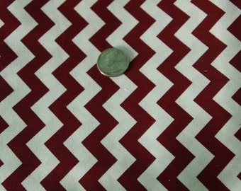 Marshall Dry Goods Fabric - One Yard - Maroon and White Chevron