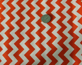 Marshall Dry Goods Fabric - One Yard - Orange and White Chevron