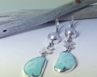 Pearl Earrings with a Sterling Silver and Turquoise dangle- handmade SALE