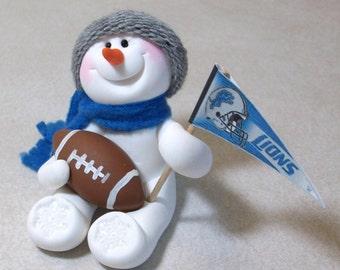 Detroit Lions football snowman ornament