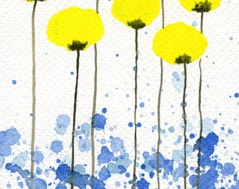 Watercolor Painting: Watercolor Flower Painting -- Art Print --  Lovely Lady -- Yellow Flowers -- 5x7