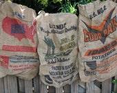 Vintage burlap Potato Sack,  your CHOICE  8 styles - LAST CHANCE  only 2 left!
