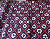 Vintage 1960s Red White Blue Floral Cotton Fabric