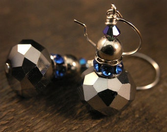 Silver and blue crystal earrings, large faceted glass beads and royal blue swarovski rings handmade earrings