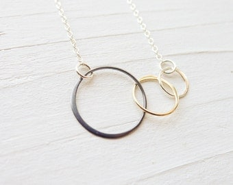 Mixed Metal Interlocking Circle Necklace - Sterling Gold Black Silver Three Circle Necklace 3 Open Circle Pendant Trendy Jewelry