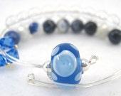 Healing Gemstone Row Counter Bracelet Abacus for Knitting or Crochet - Sodalite