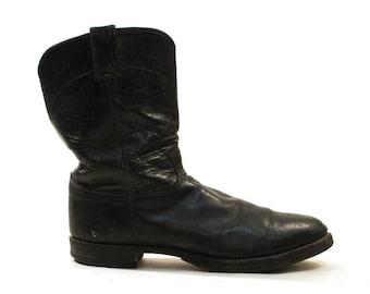 Justin Cowboy Boots / Black Leather / Men's sz 12
