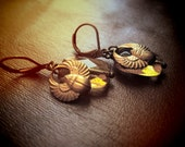 ATUM earrings amber glass and brass egyptian scarab