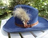 Blue Denim cowboy style hat with leather band and  feathers mens or womens