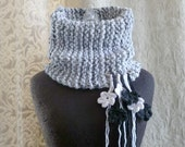 Broken Blossoms Cowl in shades of charcoal, dove grey and white