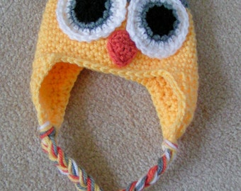Owl Hat for Baby  Crochet  in Yellow and Gray size 3 to 6 months Ready to Ship
