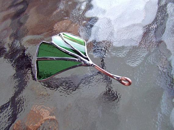 Green Glass Gingko (Ginkgo) Leaf Pendant, Unique Wedding Gift