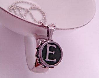 Vintage Typewriter Key Pendant Necklace Letter E with 18 Inch Ballchain