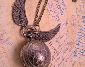 Steampunk Web Etched Brass Golden Snitch Pocket Watch with 30 Inch Brass Chain