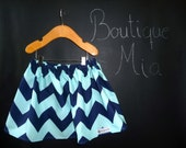 BUY 2 get 1 FREE - Skirt - Riley Blake - Aqua and Navy Chevron - Pick the size Newborn up to 14 Years by Boutique Mia
